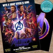 Imprimible Marvel Avengers Assemble Endgame Party Invite Diy