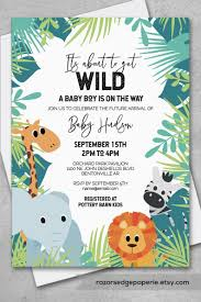 Jungle Baby Shower Invitation Pack For Tropical Baby Boy Shower