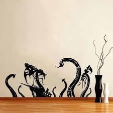 Vinyl Wall Decal Sticker Pirate Ship Attack By Octopus Vinyl Wall Decals Wall Decal Sticker Wall Decals
