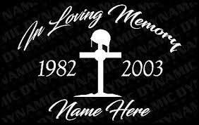 Custom In Loving Memory Fallen Soldier Vinyl Car Window Decal Sticker Army Rip Ebay