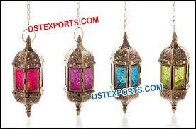 moroccan hanging coloured glass lantern
