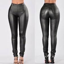 zip faux leather pants skinny jean style