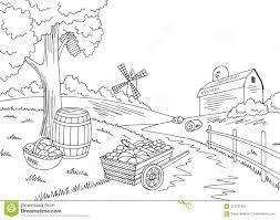Farm Autumn Graphic Black White Landscape Crop Harvest Sketch Illustration Vector Stock Vector Illustration Of Landscape Fence 123797631