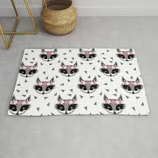 Raccoon Girl Floral Crown Cute Animals Print For Kids Room Decor Boys And Girls Nursery Rug By Charlottewinter Society6