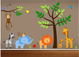 Nursery Wall Decals Includes Tree Monkey Lion By Paintlessdeco 199 99 Jungle Theme Nursery Jungle Wall Decals Baby Boy Room Themes