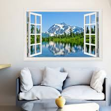 Peel And Stick 3d Wall Decal Sticker Lake Snow Mountain Window Scenes Home D Cor Art Removable Wall Murals For Kitchen Wallpaper Adhesive 24x36 Inches Wish