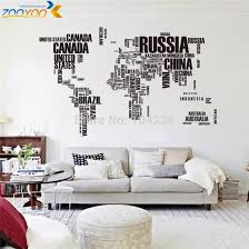 Large World Map Wall Stickers Original Zooyoo95ab Creative Letters Map Wall Art Bedroom Home Decorations Wall Decals Decorative Wall Decal Wall Decalslarge World Map Aliexpress