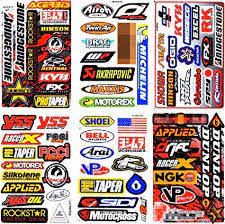 Amazon Com 6 Sheets New Multi Logo Car Motocross Atv Enduro Bike Race Racing Decal Sticker Graphic Sm21 Arts Crafts Sewing