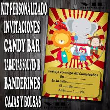 Kit Imprimible Circo Payaso Personalizado Invitaciones Candy