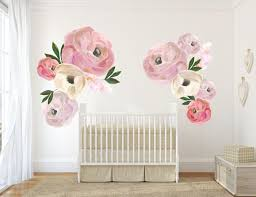 Pink Blooms Girl Nursery Decor Nursery Wall Art Floral Decals Peony Nursery Kids Wall Decor Kids Room Kids Wall Decor Pink Floral Nursery Decor Girl Nursery Decals Girl Nursery Wall Decor
