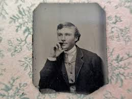 antique miniature gem tintype photo - 1800s, man with pensive look ...