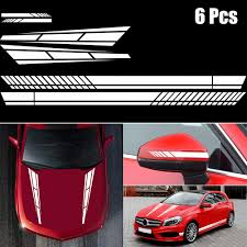 6pcs Car Stickers Universal Stripe Vinyl Decal Sticker Graphics Car Side Body Hood Cover Rearview Mirror Buy At The Price Of 10 45 In Aliexpress Com Imall Com