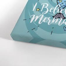 I Believe In Mermaids Quote Blue Mermaid Kids Room Decor Nursery Wall Smile Art Design