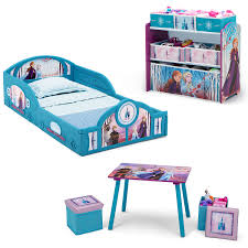 Disney Frozen Ii 5 Piece Toddler Bedroom Set By Delta Children Includes Toddler Bed Table Ottoman Set Multi Bin Toy Organizer Walmart Com Walmart Com