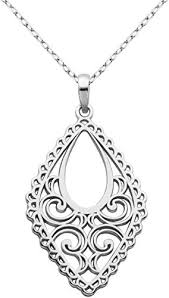 rhodium plated sterling silver filigree