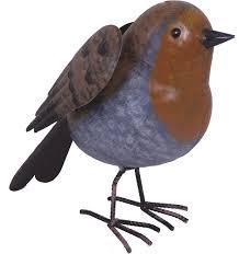 robin garden bird metal ornament