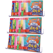 Kids Room Decor Book Sooyee 3 Pcs Acrylic Book Display Storage 15 Inch Bookshelves 5mm Thickness Book Display Storage Classroom Furniture Book Display Storage