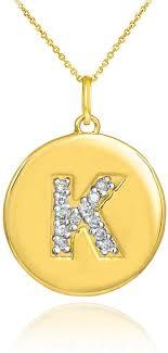 14k yellow gold letter k diamond disc