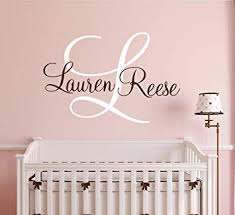 Amazon Com Personalized Name Monogram Wall Decal For Girls Nursery Wall Decals Girls Name Wall Decor Vinyl Baby
