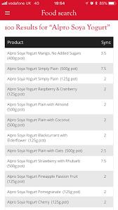 alpro soya yoghurt syn values