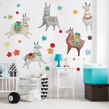 Lovely Llama Watercolor Wall Decal Kit Nursery Wall Decal By Chromantics