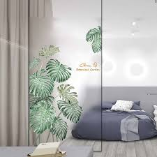 Fresh Green Plant Wall Sticker Diy Peony Rose Flower Beach Tropical Palm Leaves Wall Stickers Modern Art Vinyl Decal Wall Mural Wall Stickers Aliexpress