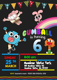 The Amazing World Of Gumball Birthday Invitation Invitaciones De