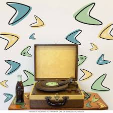 Atomic Boomerangs 50s Style Wall Decals Set Of 20 Medium Wall Decals Removable Wall Decals Vintage Walls