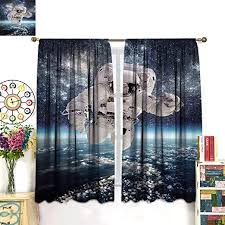Amazon Com Kids Curtains Outer Space Theme Astronaut In Milkyway Print Galaxy Stardust Earth Home Decor Window Drapery For Bedroom 2 Panels Set 72 W X 63 L Navy White Home Kitchen