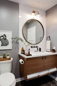 vanity with round mirror ideas bathroom