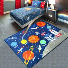 Amazon Com Kids Rug Educational Learning Carpet Galaxy Planets Stars Blue 3 3 X4 3 Children S Fun Area Rug Nursery Rugs Solar System Rectangle Rug Kitchen Dining