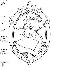 Kids N Fun Kleurplaat Prinsessen Verjaardag Assepoester 1 Jaar