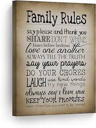 Amazon Com Smile Art Design Family Rules Sign Wall Art Canvas Print Funny Quote Family Wall Decor Vintage Retro Artwork Living Room Home Decor Framed Ready To Hang 100 Made In The Usa