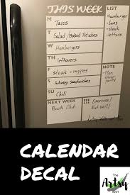 Menu Planner Decal Dry Erase Calendar The Artsy Spot