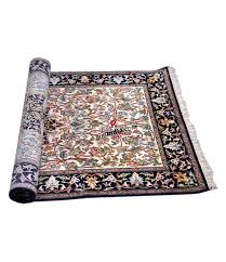 blue kashmiri silk carpet hand knotted rug
