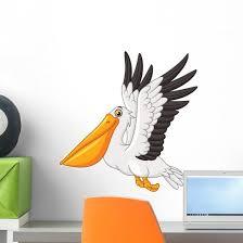 Cartoon Pelican Flying White Wall Decal Wallmonkeys Com