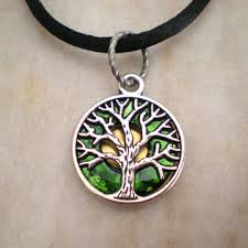 tree of life necklace emerald green