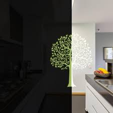 Glow In The Dark Wall Vinyl Sticker Art Luminescent Neon Night Glowing Light Decal Kid Room Stick Tree Birch Nature Botanical Forest Decords Tm