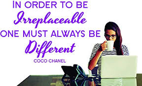 Amazon Com Wall Vinyl Decals Coco Chanel Quote In Order To Be Irreplaceable Vinyl Wall Sticker Decal Large Made In Usa Home Kitchen