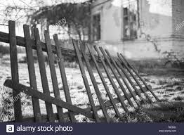 Old Wooden Fence And Country House In Summer Black And White Photo Stock Photo Alamy