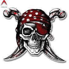 Aliauto Personality Funny Car Sticker Pirate Skull Jolly Roger Pvc Sunscreen Anti Uv Decals Accessories 12cm 10cm Aliexpress