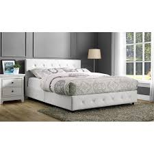upholstered faux leather queen bed