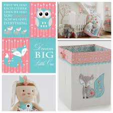 Girl Woodland Nursery Levtex Baby Fiona Fox Coral And Teal Nursery Girl Fox Nursery Teal Nursery Baby Girl Nursery Themes Whimsical Nursery