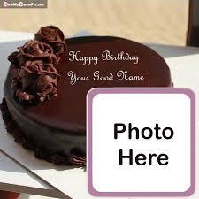 name with photo birthday chocolate cake