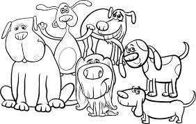 Cartoon Honden Groep Kleurplaat Premium Vector
