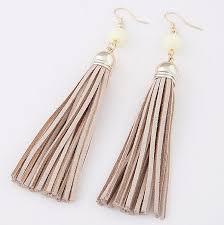 boho style leather long tel earrings
