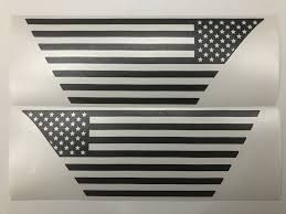 Us Flag Decals Premium Cast Matte Black Vinyl X2 Tvd Vinyl Decals