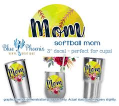 Softball Mom Color Cup Decal Blue Phoenix Vinyl Boutique