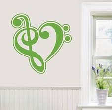 Amazon Com 24 X24 Music Heart Shape Symbol Treble Bass Clef Love Wall Decal Sticker Art Mural Home Decor Home Kitchen