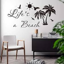 Amazon Com Wall Stickers Murals Life Is A Beach Palm Tree Wall Decal Car Laptop Bedroom Summer Surf Beach Nature Wall Sticker Car Laptop Vinyl Kids Room Vinyl Kitchen Dining
